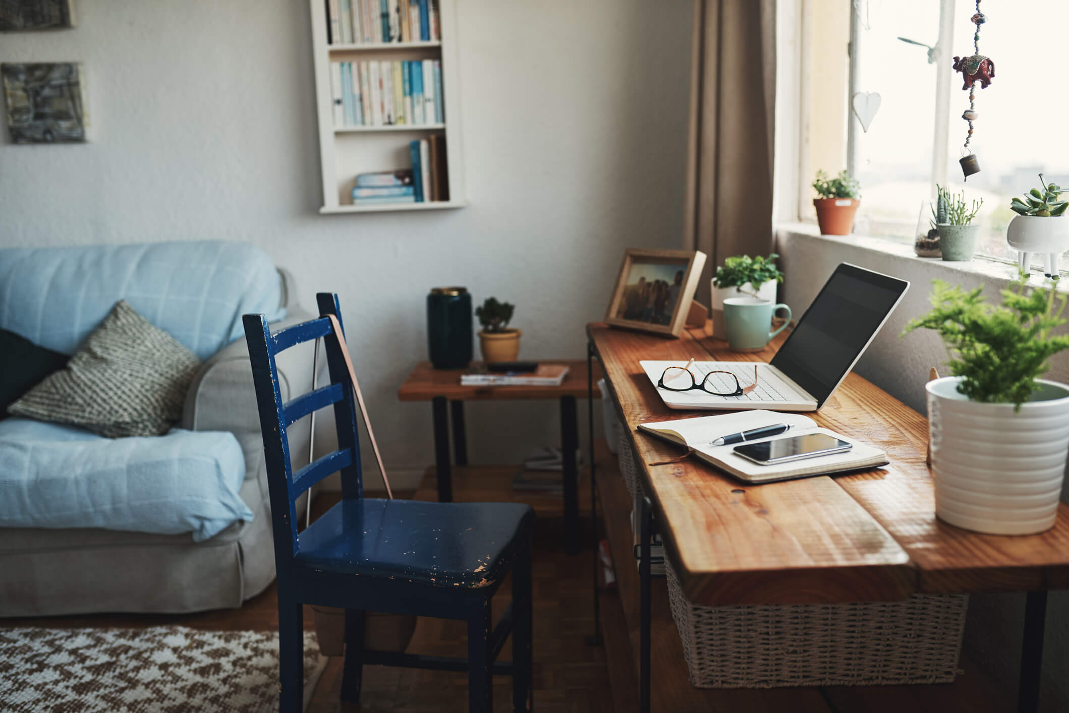 Home office for disabled person working remotely.